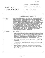 552 - Pre-employment Drug Testing - Moon Area School District