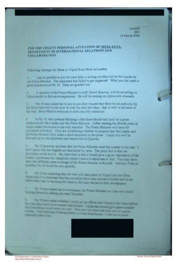 letter from Mark Allen to the head of Libyan intelligence Moussa ...