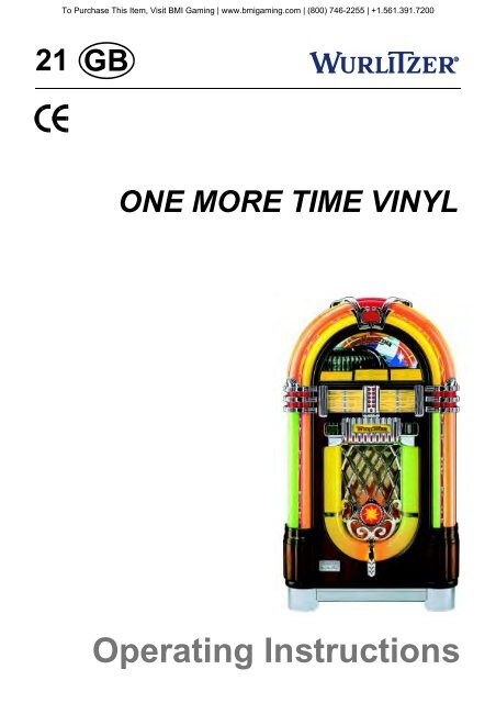 Wurlitzer Model 1015 OMT CD Jukebox Manual