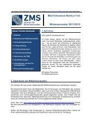 Wintersemester 2011/2012 - Zentrum für Mittelmeerstudien - Ruhr ...