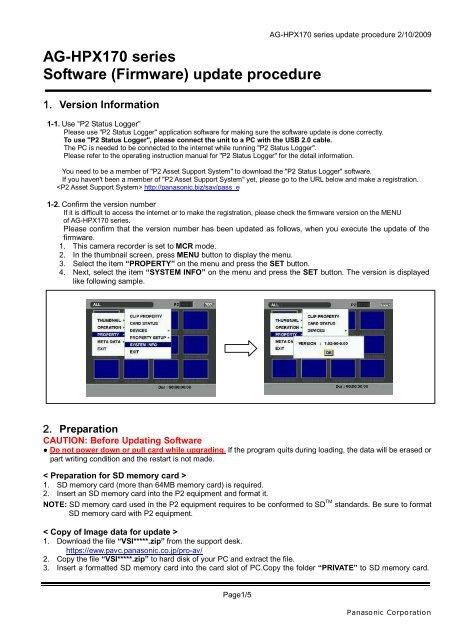 AG-HPX170 series Software (Firmware) update     - Panasonic PASS