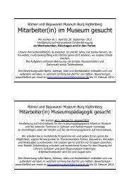 Mitarbeiter(in) im Museum gesucht - Römer und Bajuwaren Museum ...