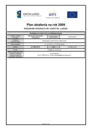 Plan działania na rok 2009 - Kapitał Ludzki - Wojewódzki Urząd ...