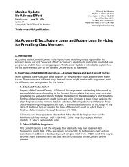 No Adverse Effect: Future Loans and Future Loan Servicing for ...
