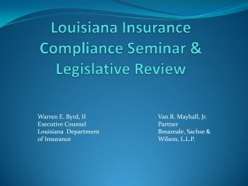 Legislative Review - Louisiana Department of Insurance