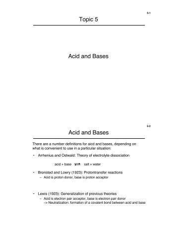 Topic 5 Acid and Bases Acid and Bases