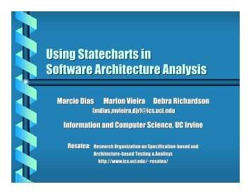 Using Statecharts in Software Architecture Analysis