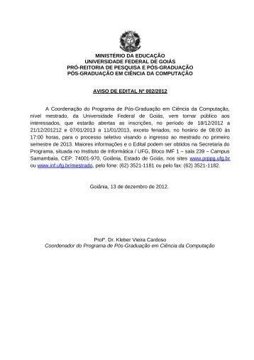 Edital do Processo Seletivo 2013-1 retificado (.pdf) - Instituto de ...
