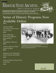 Missouri State Archives Newsletter, Fall 2007 - Friends of the ...
