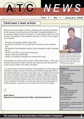 ATC News, Winter 2002 - Association of Translation Companies