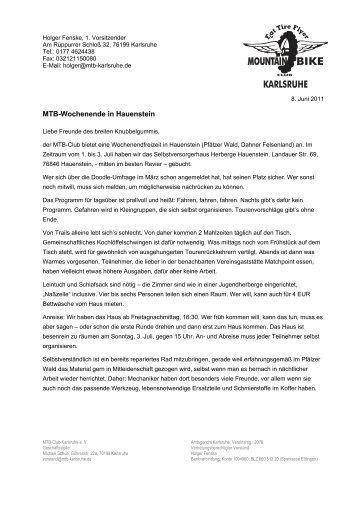 MTB-Wochenende in Hauenstein - Mountainbike Club Karlsruhe