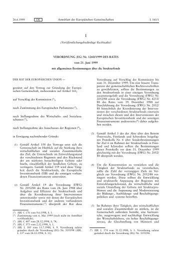 VERORDNUNG (EG) Nr. 1260/1999 - Europäischer Sozialfonds (ESF)