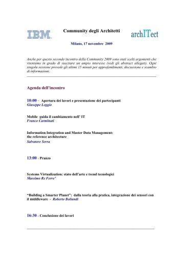 Agenda IT Arch Comm 2009 II - Milano - Guide Share Italia
