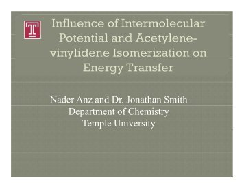 Nader Anz and Dr. Jonathan Smith Department of ... - Chem.hope.edu