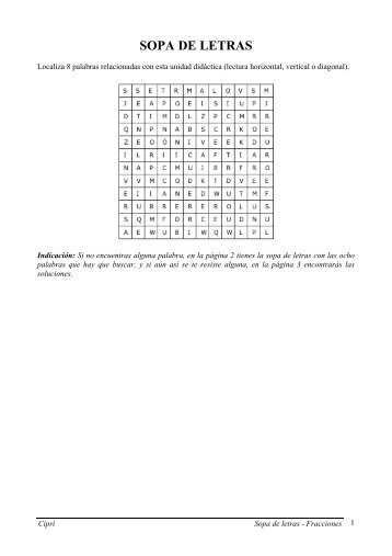 Sopa de letras - Fracciones