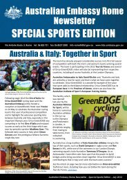 Australian Embassy Rome Newsletter SpEciAl SpoRtS EditioN ...