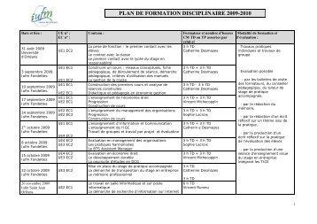Plan de formation Economie Gestion - IUFM