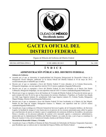 gaceta oficial del distrito federal - Secretaria de Obras y Servicios