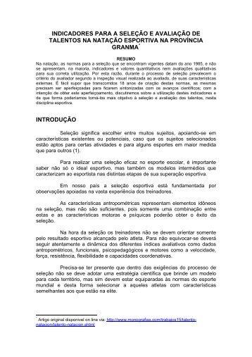 indicadores para a seleção e avaliação de talentos na ... - Aquabarra