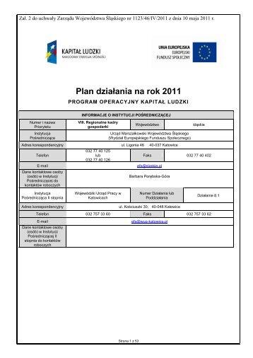 Plan działania na rok 2011 - EFS WUP Katowice - Wojewódzki ...