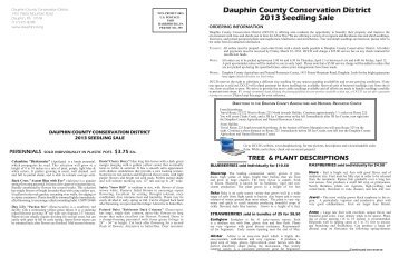 Seedling Sale Order Form - Dauphin County