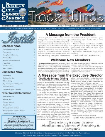 A Message from the President - Lincoln City Chamber of Commerce
