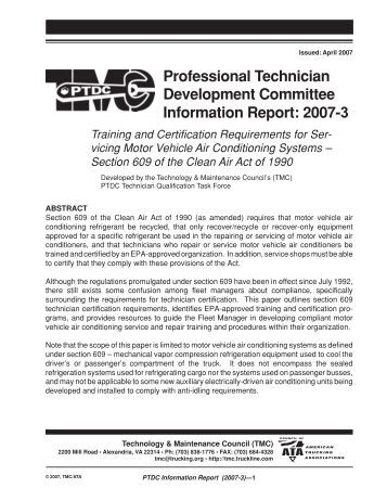 Training and Certification Requirements for Complying with the ...