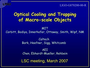 Optical Cooling and Trapping of Macro-scale Objects - LIGO - Caltech