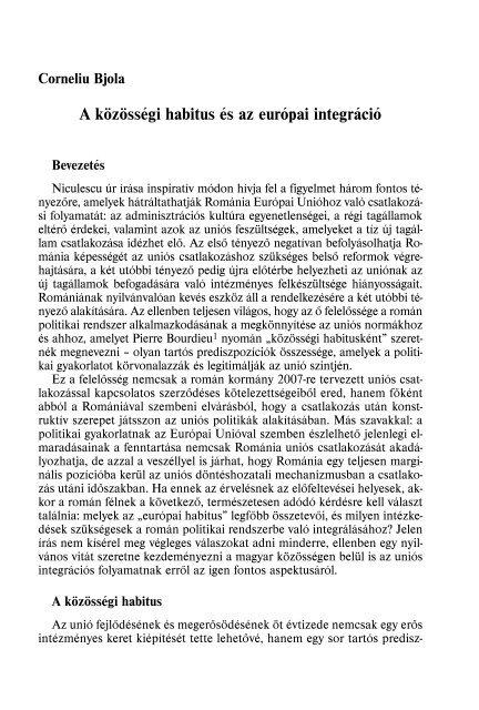 A közösségi habitus és az európai integráció