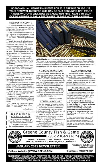 January 2012 Newsletter - Greene County Fish & Game Association