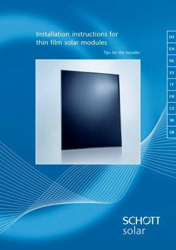 Installation instructions for thin film solar modules - Mare Solar