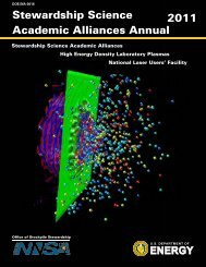 Stewardship Science Academic Alliances Annual - National Nuclear ...