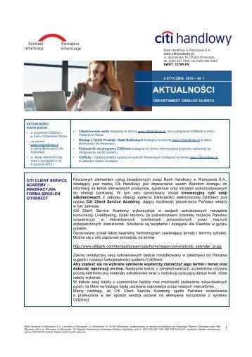 Wersja polska - Aktualności nr 1 (PDF, 195 KB) - Citibank Handlowy