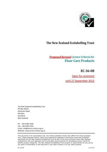 Floor Care Products EC-36-08 - Environmental Choice New Zealand