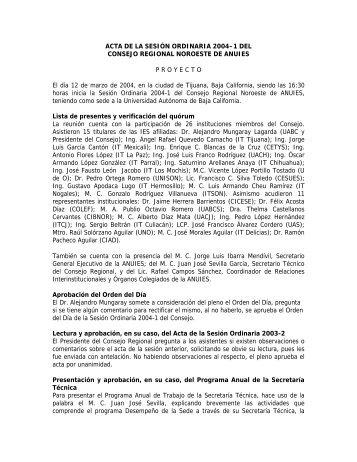 Acta Sesión Ordinaria 2004-1 - ANUIES - Universidad Autónoma de ...