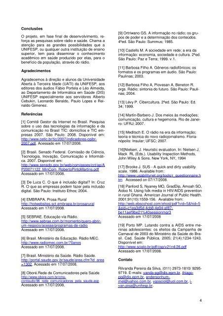 Rádio UNIFESP Web – Desenvolvimento de um Modelo para ... - SBIS