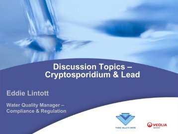 Discussion topics - Cryptosporidium & Lead - Affinity Water