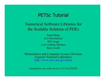 PETSc Tutorial - The ACTS Toolkit