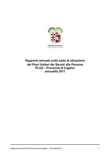 Rapporto PLUS anno 2011 - Sociale - Provincia di Cagliari