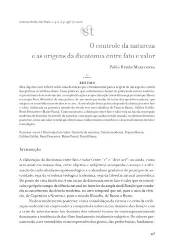 O controle da natureza e as origens da dicotomia entre fato e valor