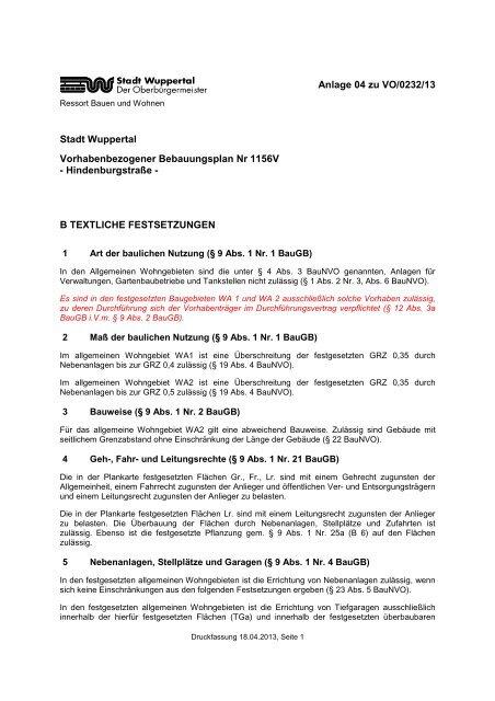 Bebauungsplan 1156V - Textliche Festsetzungen - Stadt Wuppertal