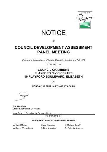 18 February 2013 - City of Playford