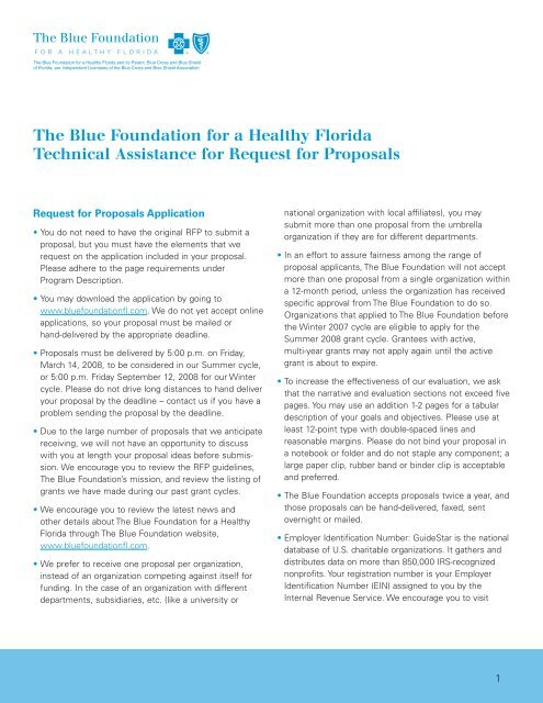Technical Assistance for Requests for Proposals - Florida Blue