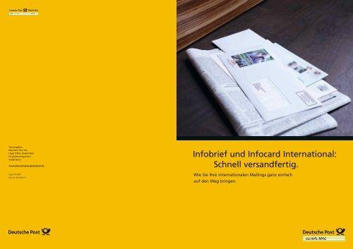 Infobrief und Infocard International: Schnell versandfertig.