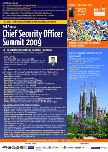 The Unique Event For Security Directors From Business - MIS Training