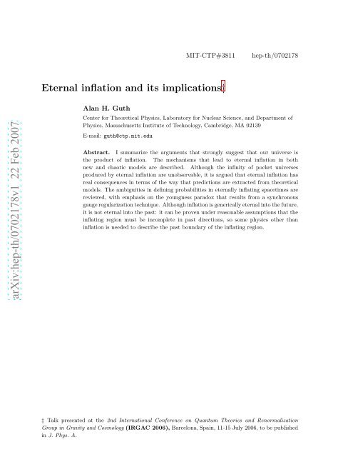 Eternal inflation and its implications