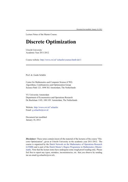 Lecture Notes Discrete Optimization - Applied Mathematics