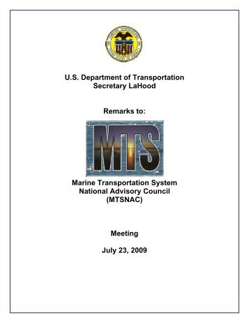 Remarks - Maritime Administration - U.S. Department of Transportation