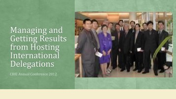 Managing and Getting Results from Hosting International Delegations