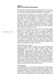 FABRICA PROFIL DU CENTRE DE RECHERCHE Né en 1994 du ...